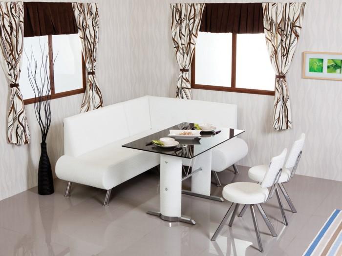Koseli Sik Beyaz Mutfak Masasi Modelleri