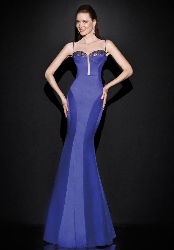 2d70d30cd2756 saks mavisi uzun kollu taş süslemeli şık abiye elbise modeli arkadan görünüm