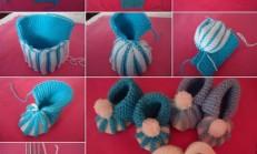 İki Renkli, Örgü Bebek Botu