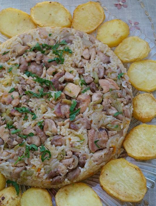 patates halkalı tavuklu pilav