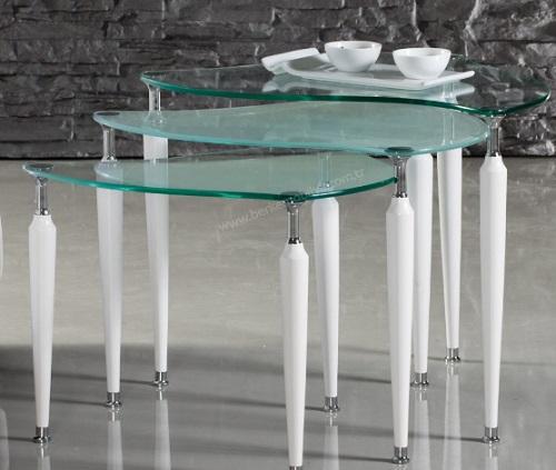 Beyaz Metal Ayakli Zigon Sehpa Modeli